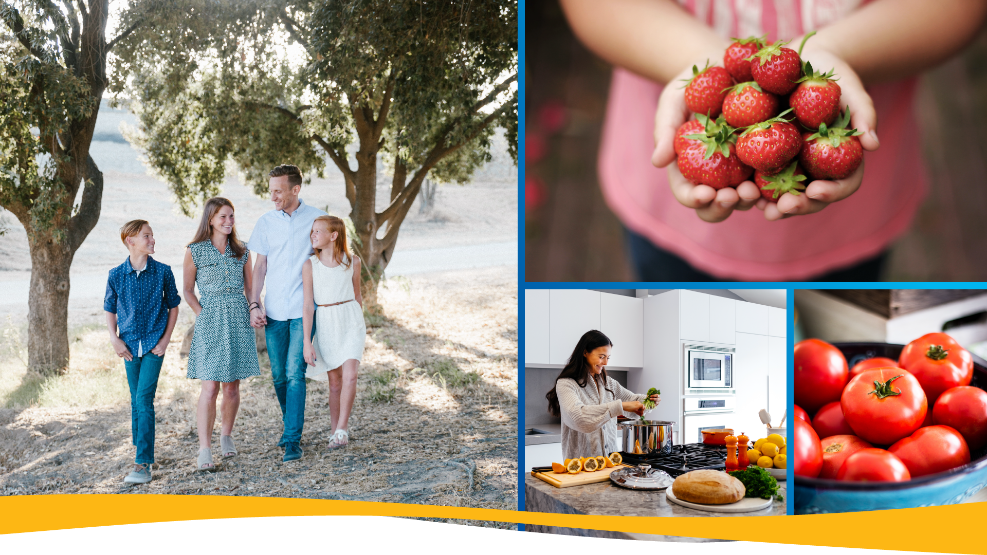 Flyer header with four images. Family walking in the woods, hands holding strawberries, woman cooking, and a bowl of tomatoes